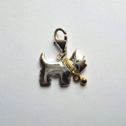 Sterling Silver clip on two tone Scottie dog charm